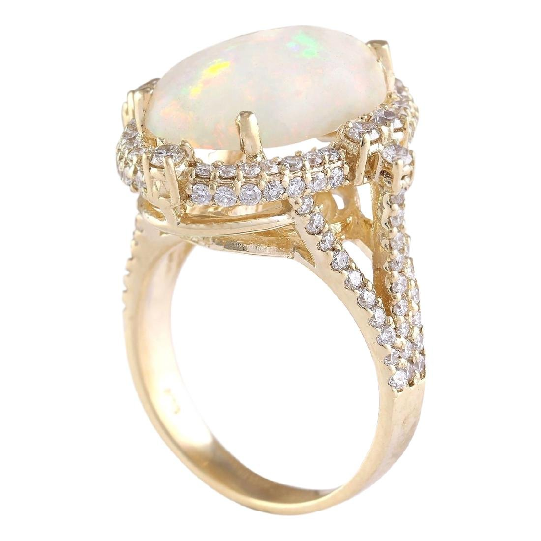 7.09 CTW Natural Opal And Diamond Ring In 18K Yellow - 3