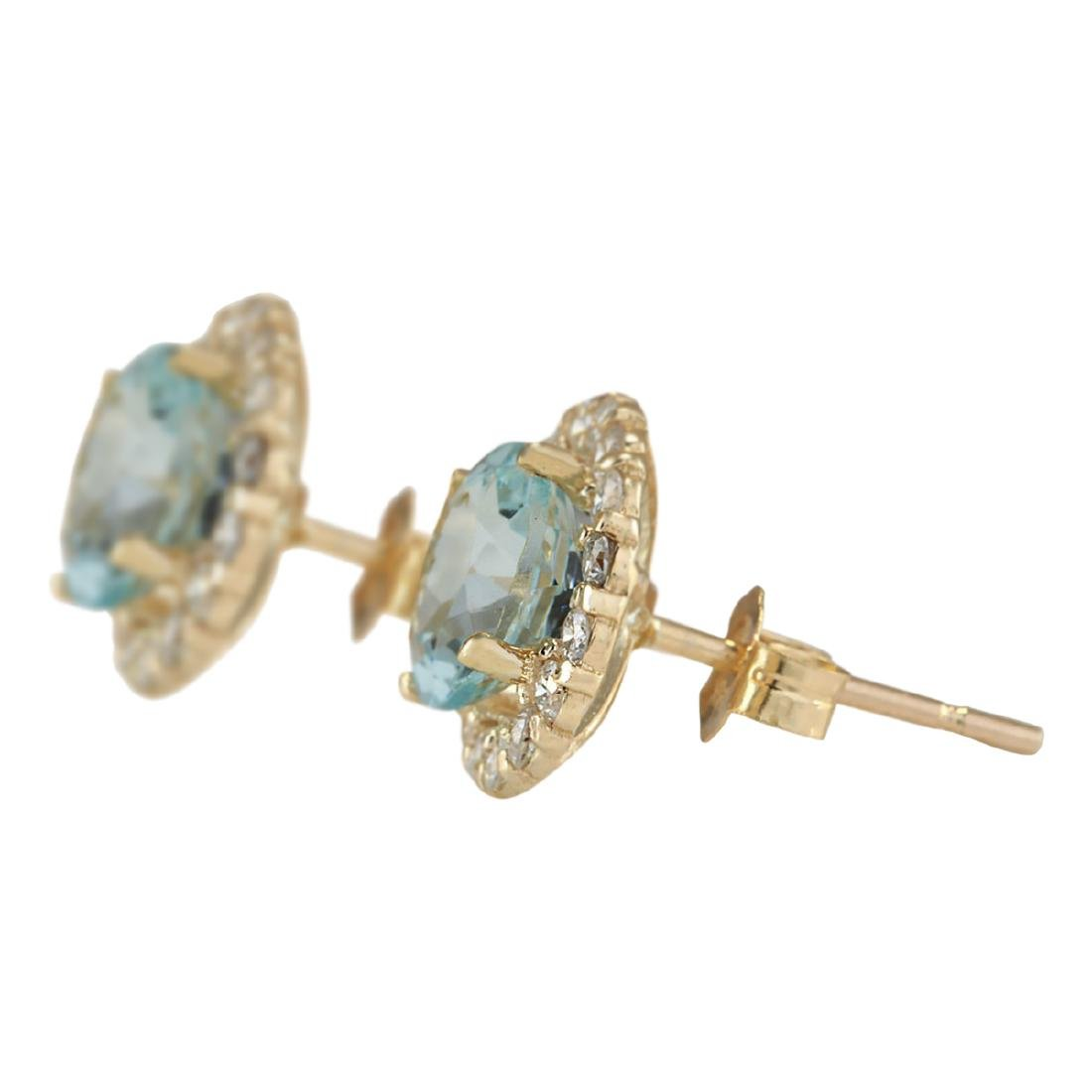 3.65 CTW Natural Aquamarine And Diamond Earrings 18K - 2