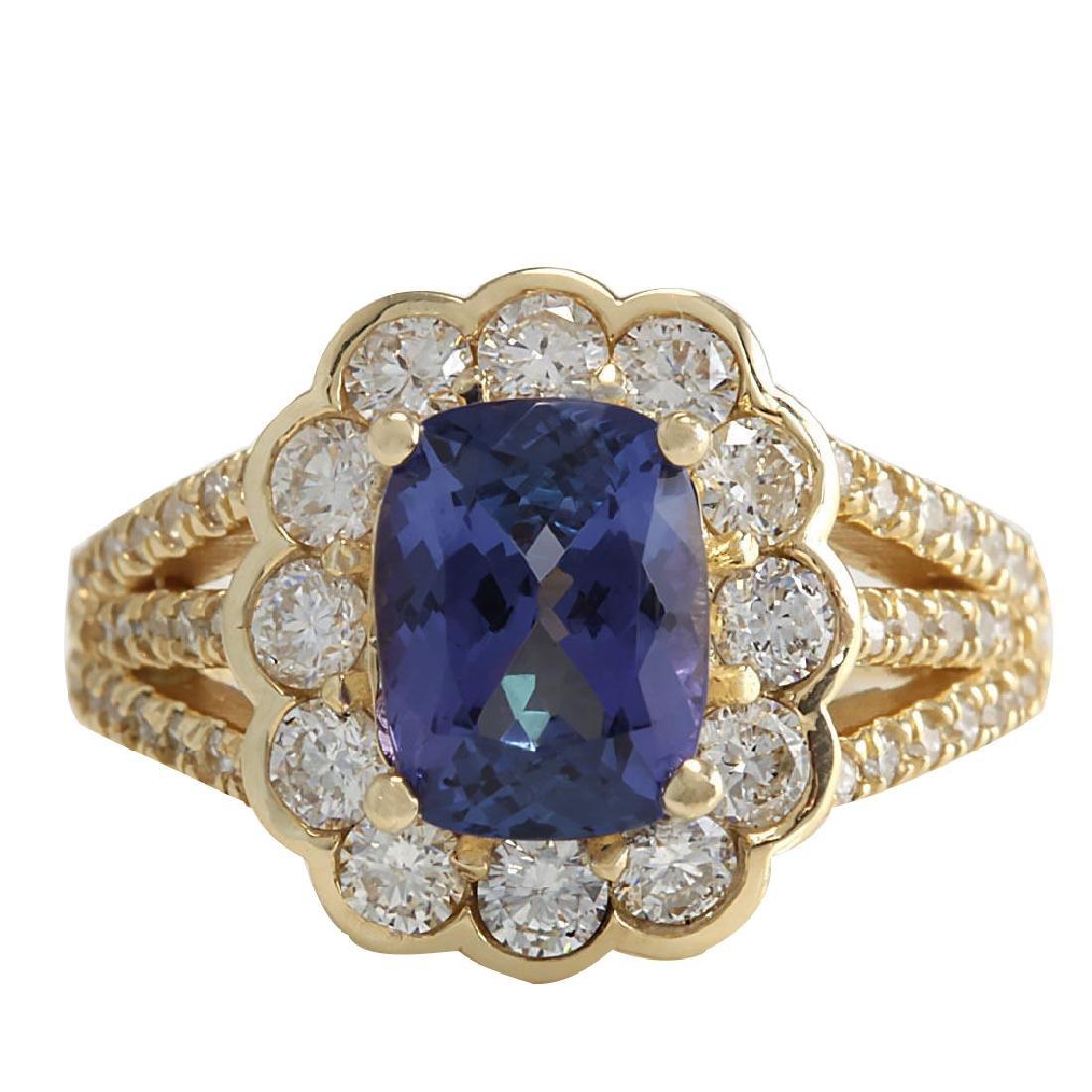 3.65CTW Natural Tanzanite And Diamond Ring In 18K