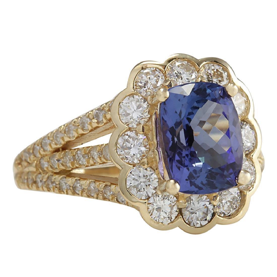 3.65CTW Natural Tanzanite And Diamond Ring In 18K - 2
