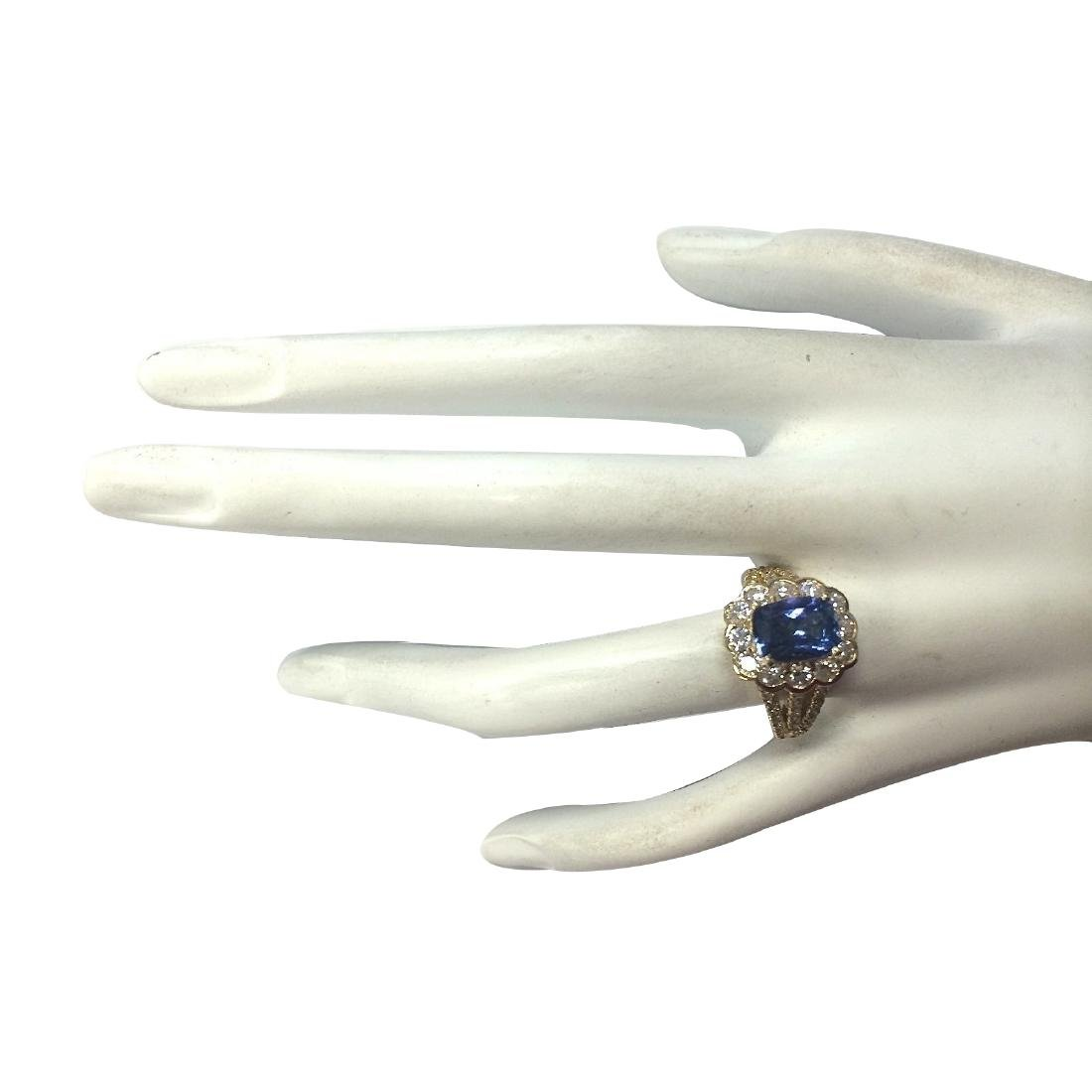 3.65CTW Natural Tanzanite And Diamond Ring In 18K - 4