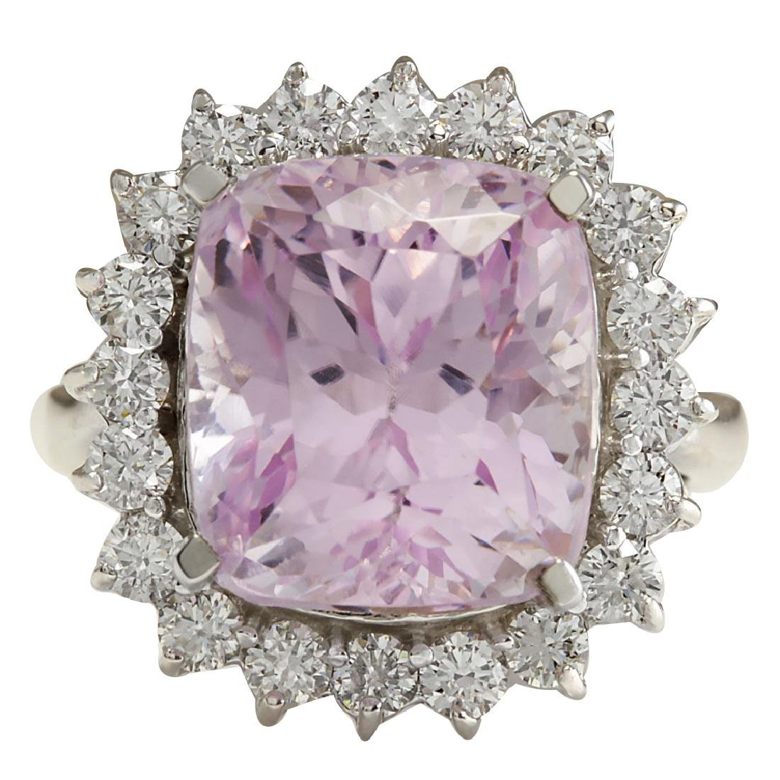 16.95CTW Natural Kunzite And Diamond Ring 18K Solid