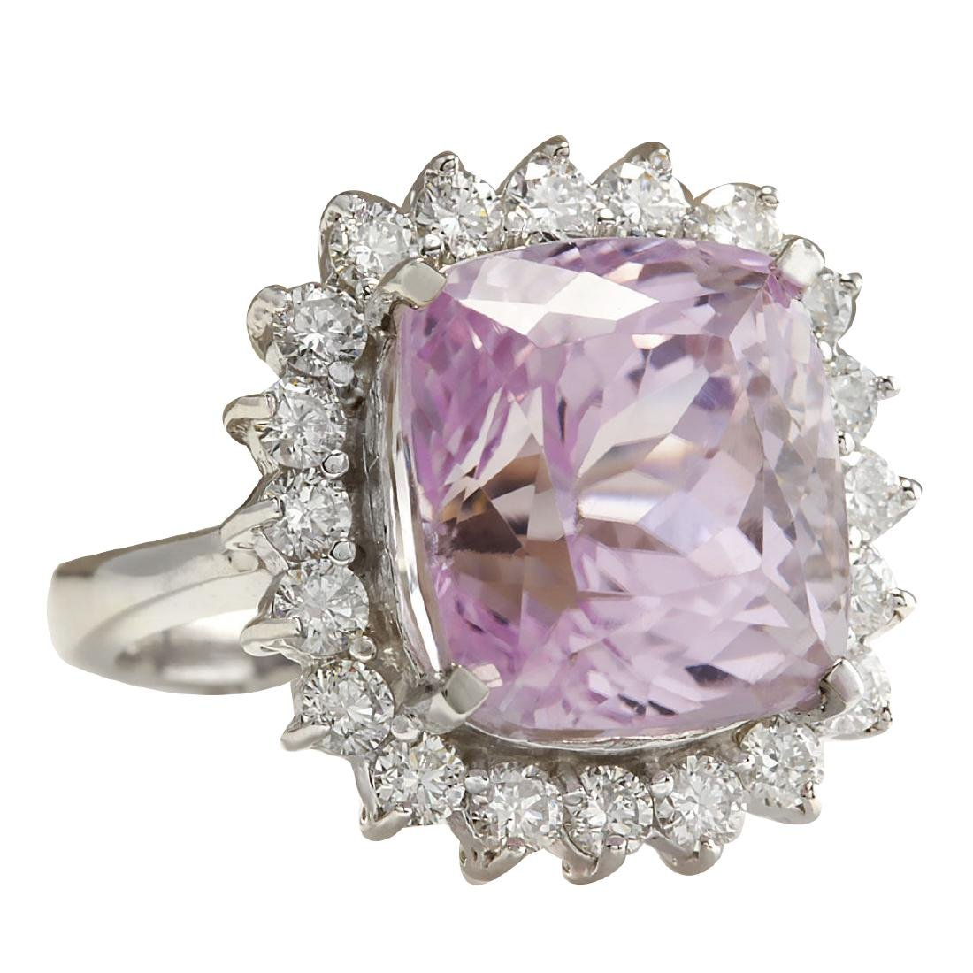 16.95CTW Natural Kunzite And Diamond Ring 18K Solid - 2