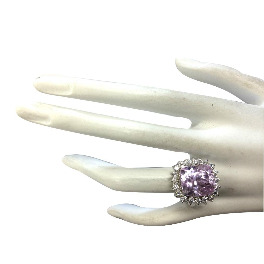 16.95CTW Natural Kunzite And Diamond Ring 18K Solid - 4
