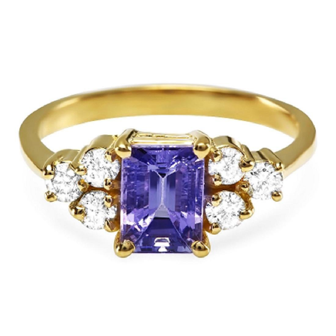 1.70 Carat Natural Tanzanite 18K Solid Yellow Gold
