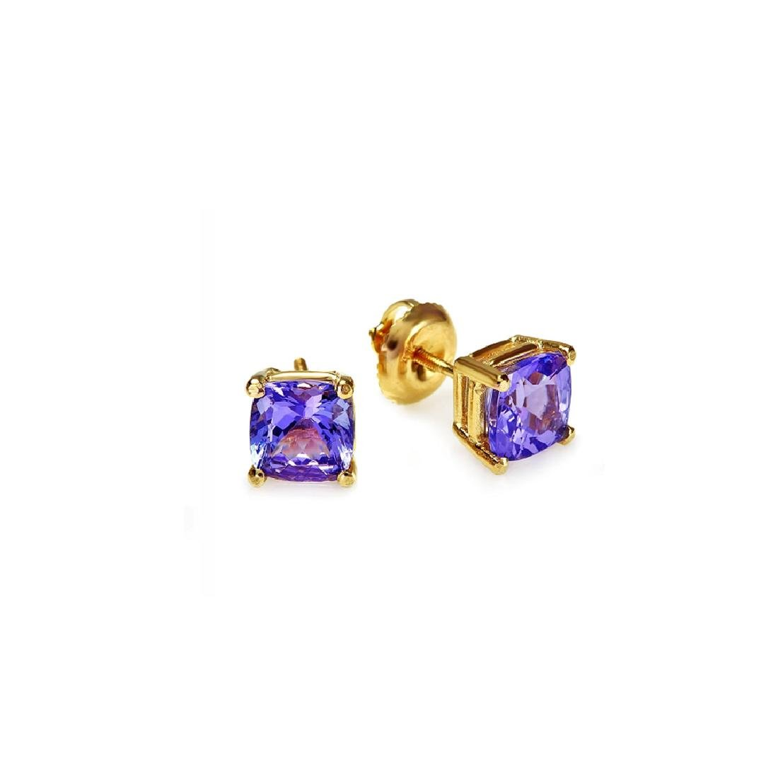 2.30 Carat Natural Tanzanite 18K Solid Yellow Gold