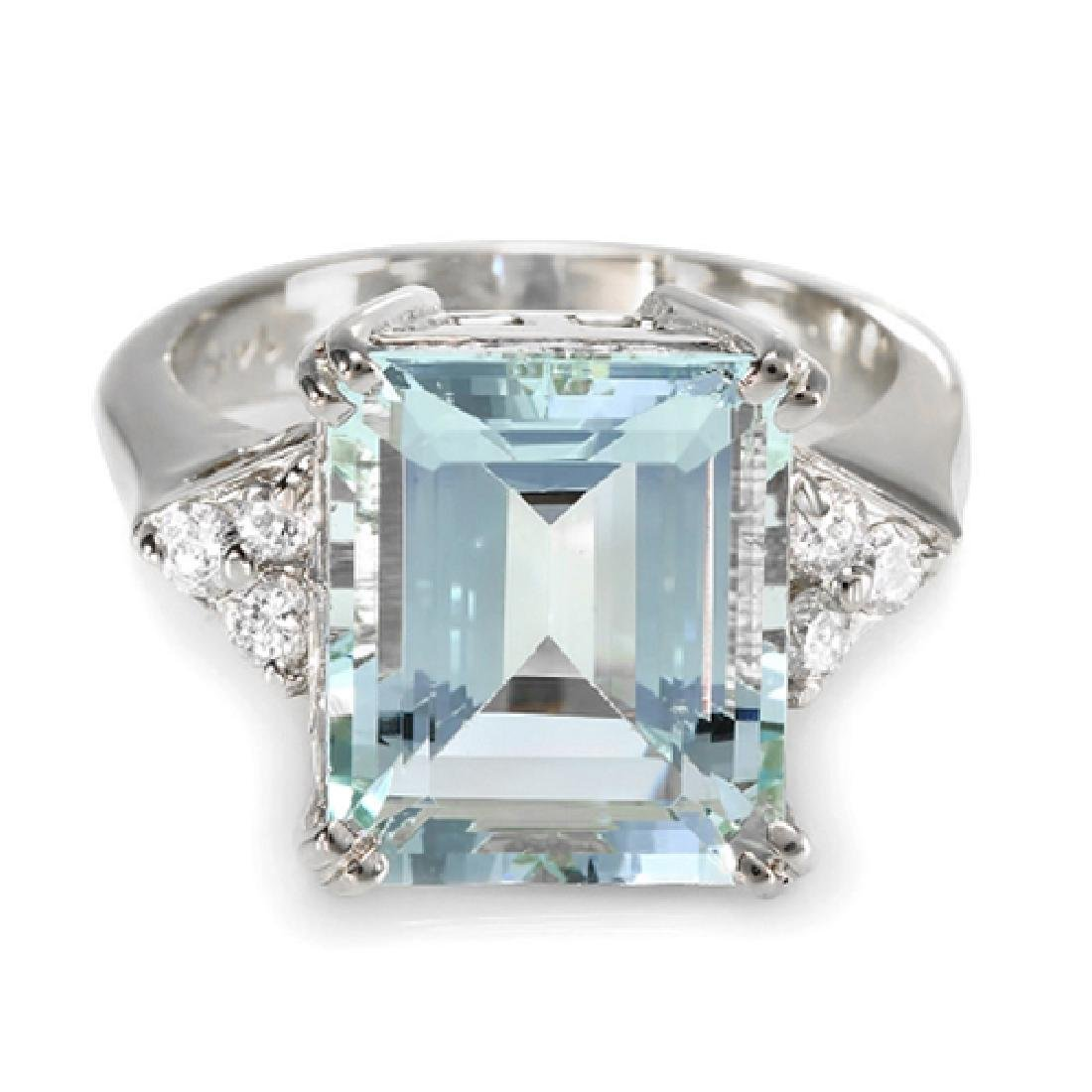 5.72 Carat Natural Aquamarine 18K Solid White Gold