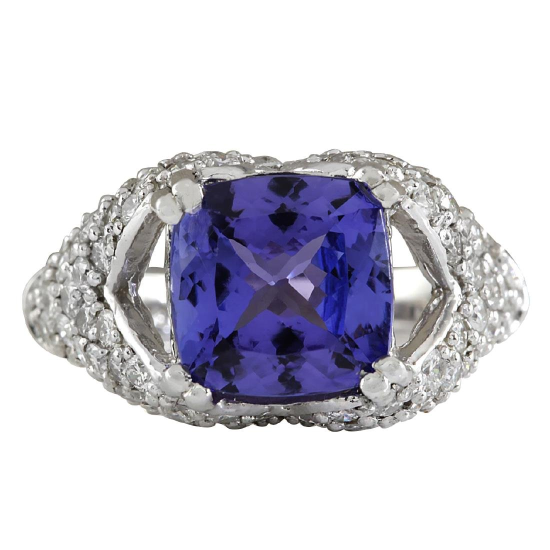 6.32CTW Natural Tanzanite And Diamond Ring In 18K Solid