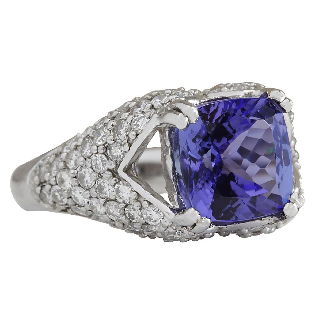 6.32CTW Natural Tanzanite And Diamond Ring In 18K Solid - 2