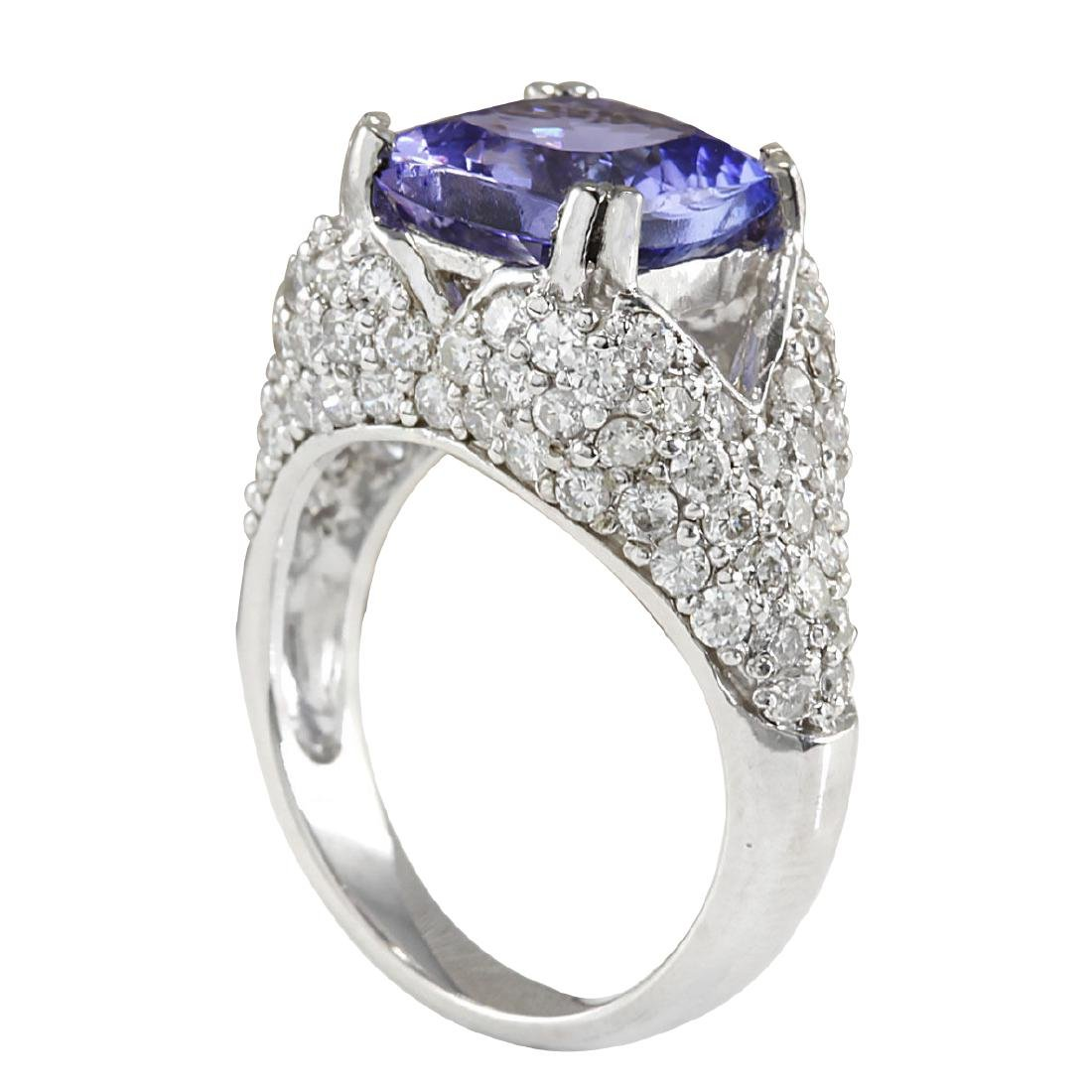 6.32CTW Natural Tanzanite And Diamond Ring In 18K Solid - 3