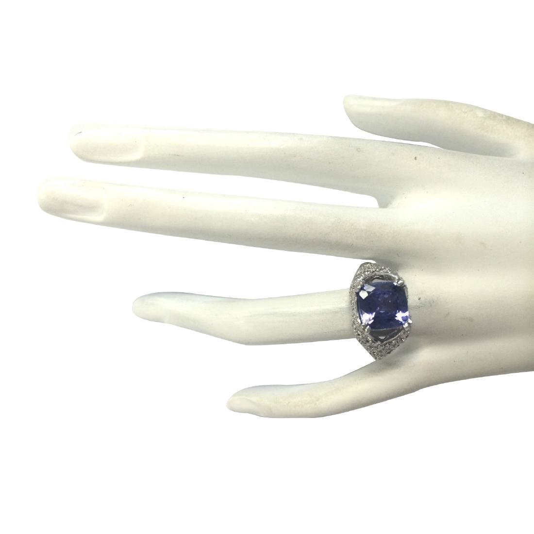 6.32CTW Natural Tanzanite And Diamond Ring In 18K Solid - 4
