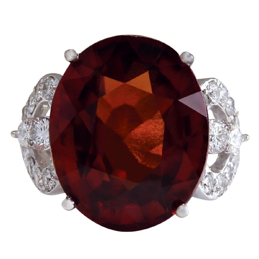 19.81Ct Natural Red Hessonite Garnet And Diamond Ring
