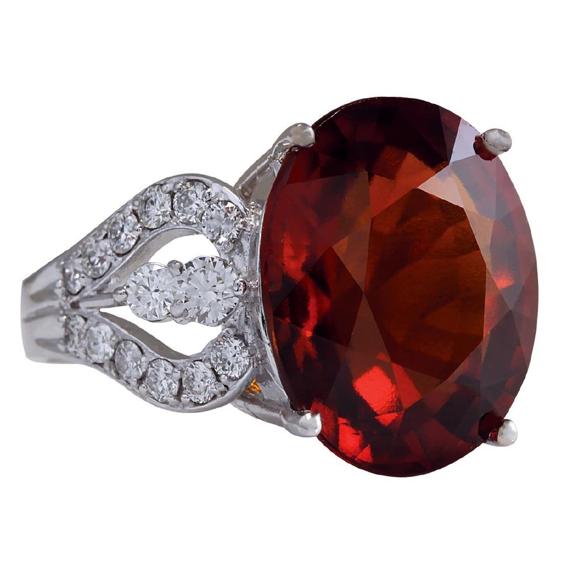 19.81Ct Natural Red Hessonite Garnet And Diamond Ring - 2