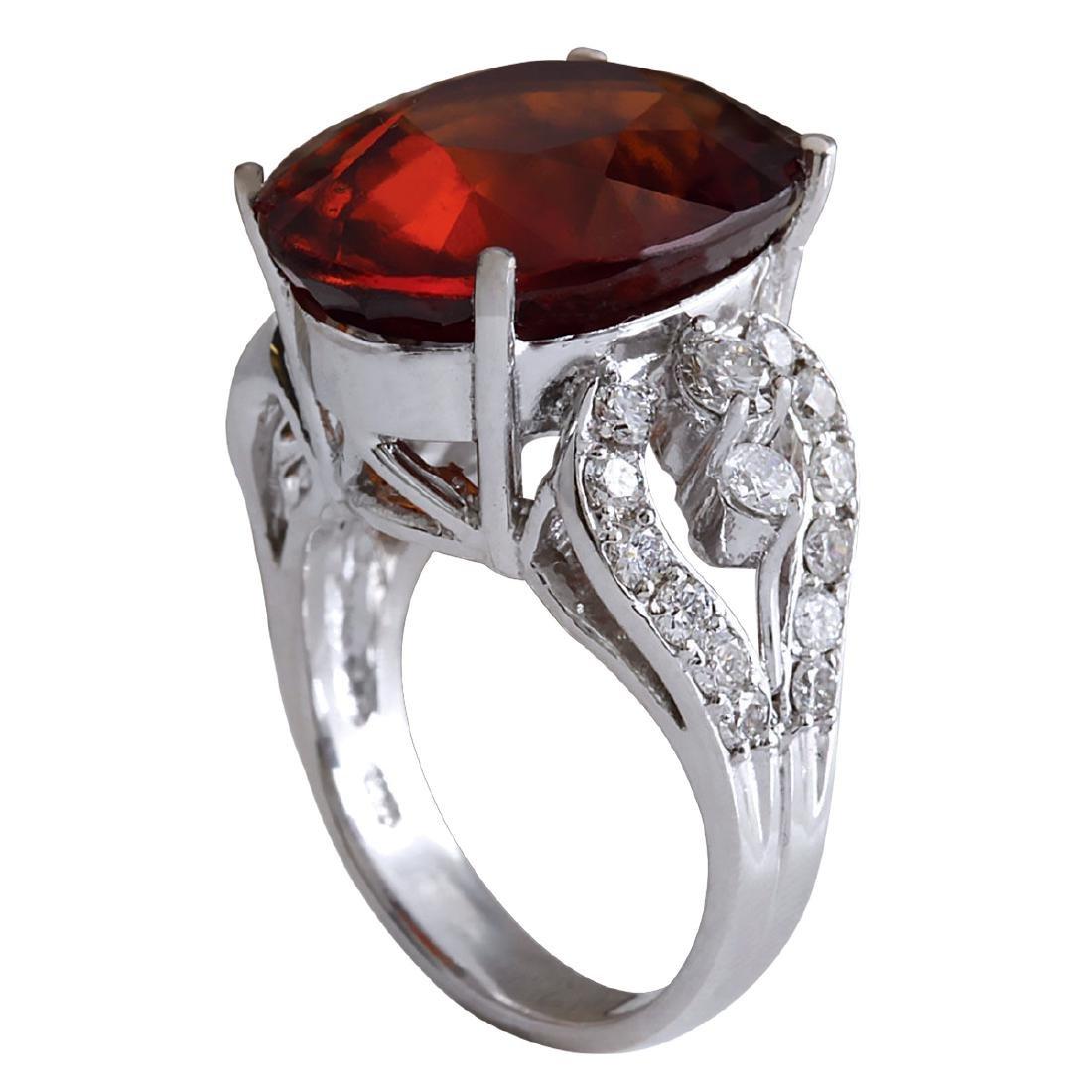 19.81Ct Natural Red Hessonite Garnet And Diamond Ring - 3