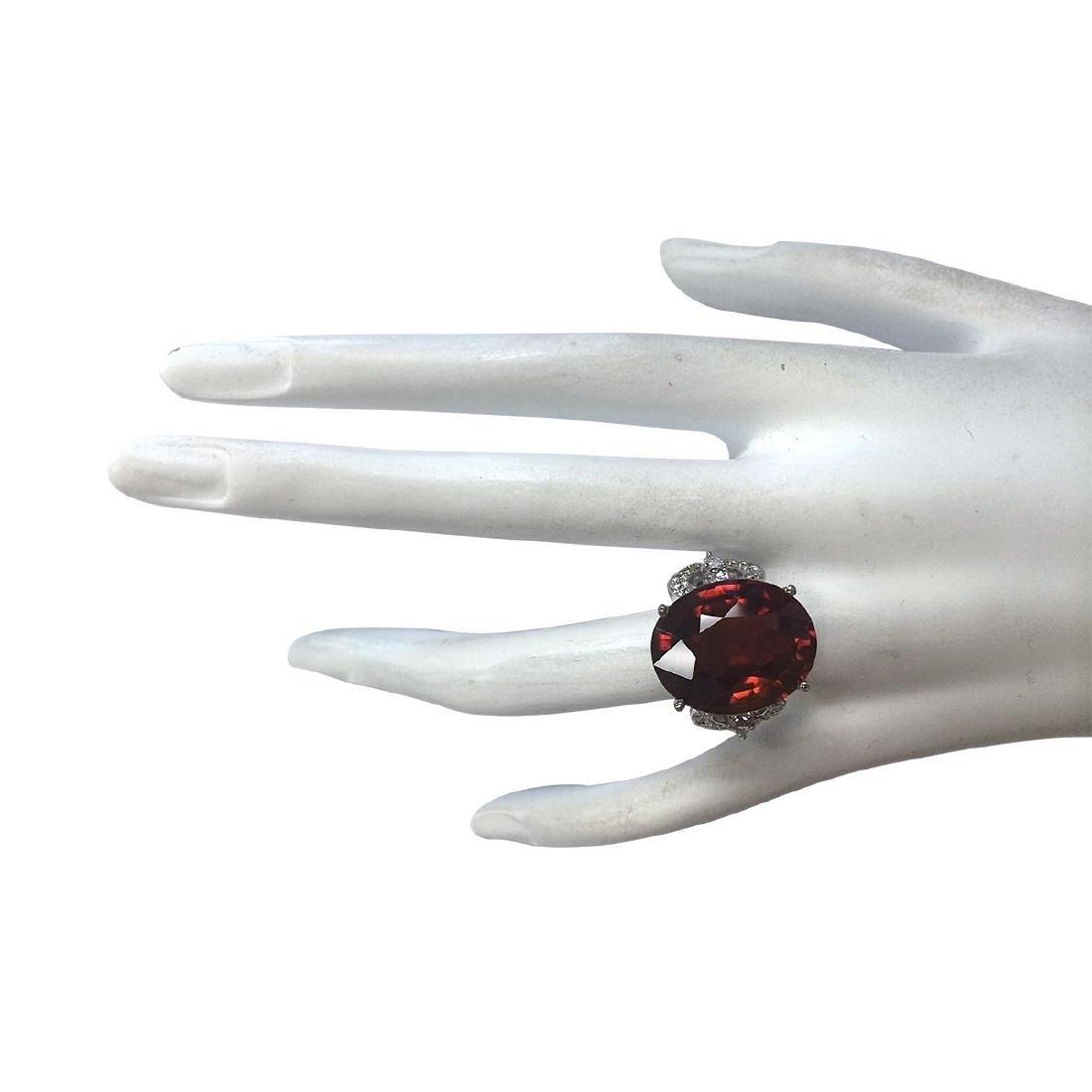 19.81Ct Natural Red Hessonite Garnet And Diamond Ring - 4