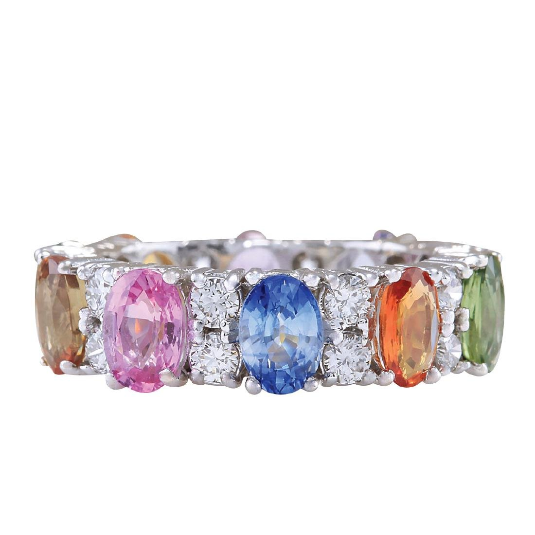 7.09CTW Natural Sapphire And Diamond Ring In 18K White