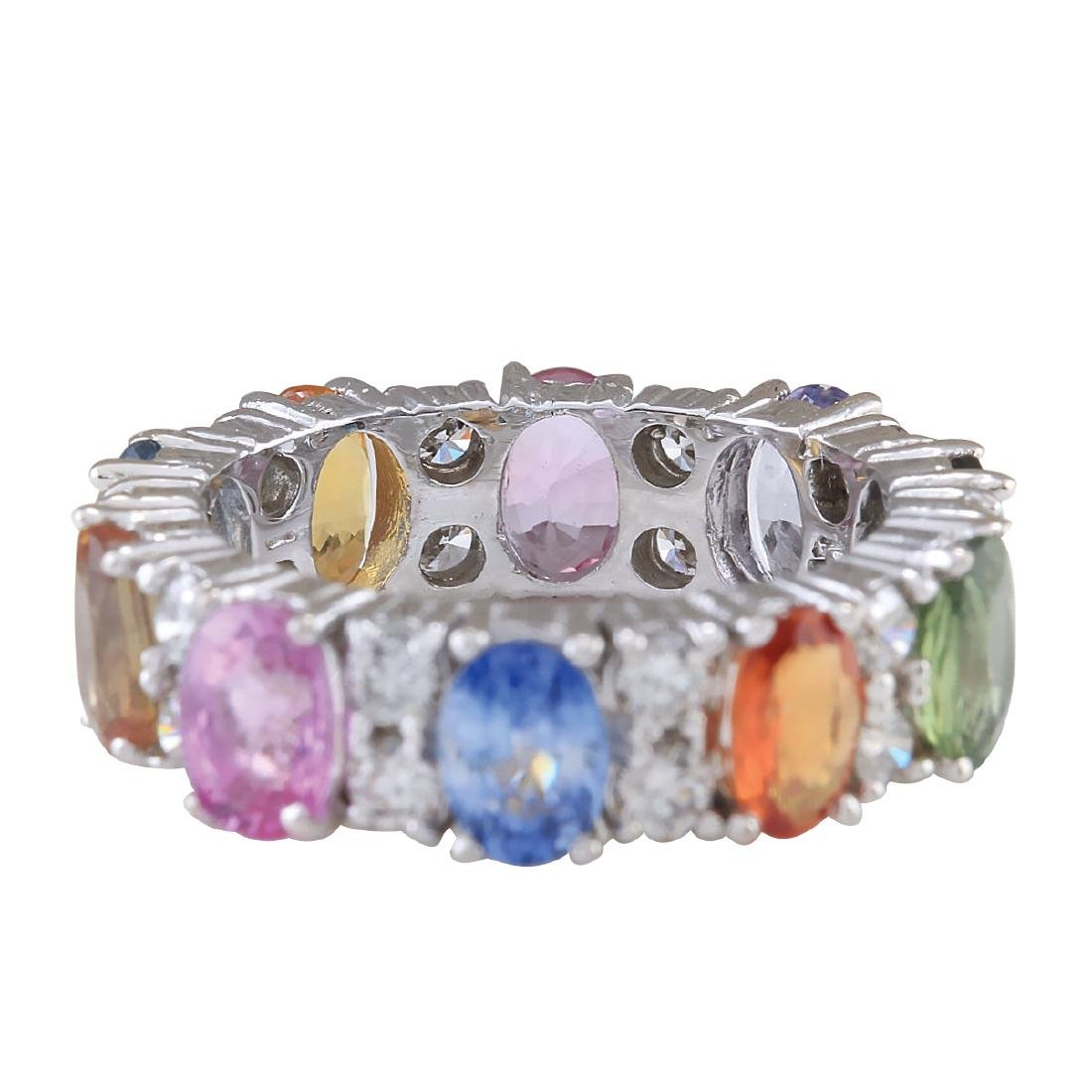 7.09CTW Natural Sapphire And Diamond Ring In 18K White - 2