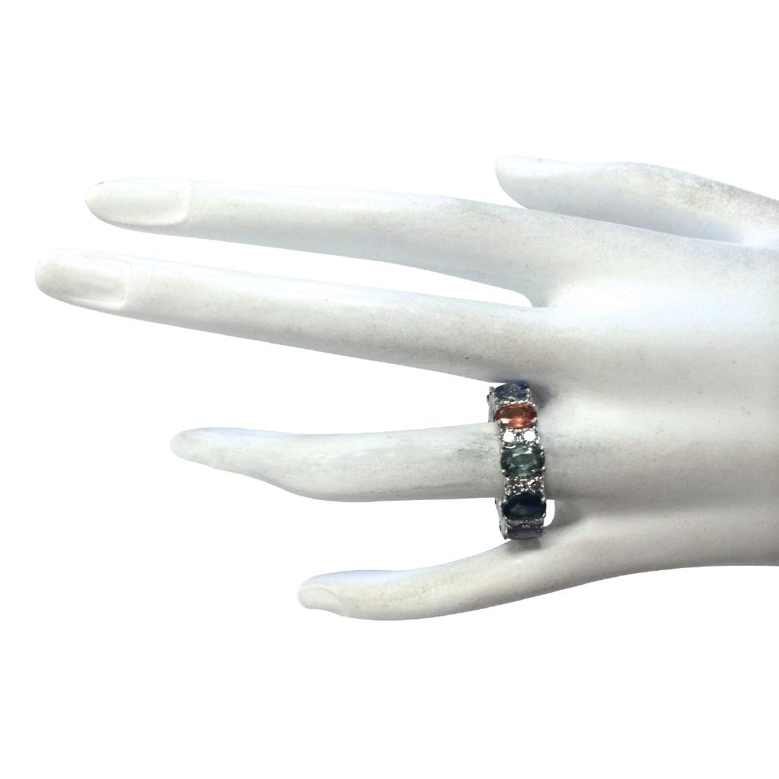 7.09CTW Natural Sapphire And Diamond Ring In 18K White - 4