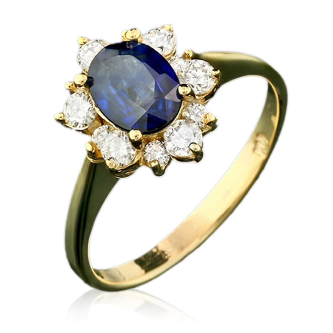 2.10 Carat Natural Sapphire 18K Solid Yellow Gold