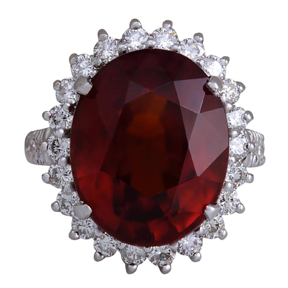 18.43Ct Natural Red Hessonite Garnet And Diamond Ring