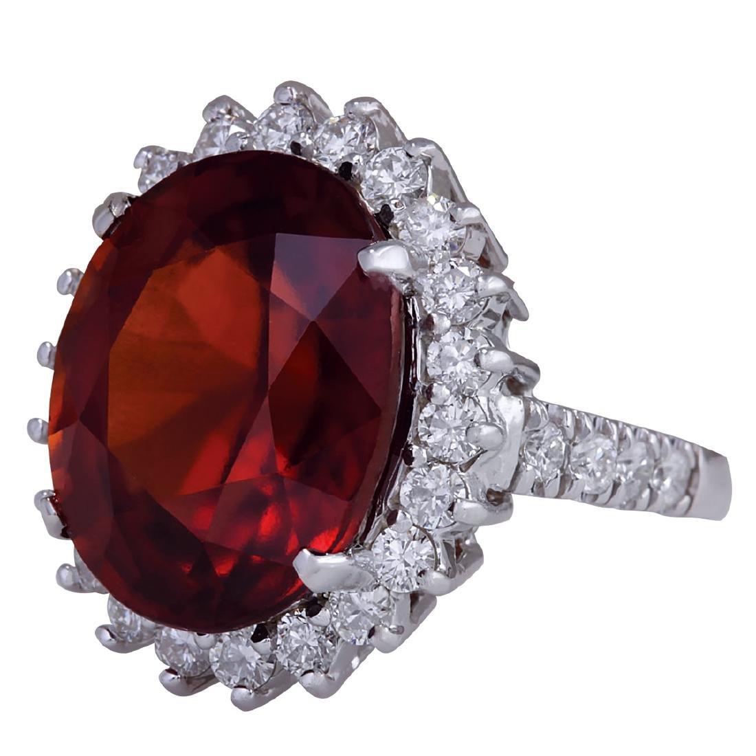 18.43Ct Natural Red Hessonite Garnet And Diamond Ring - 2