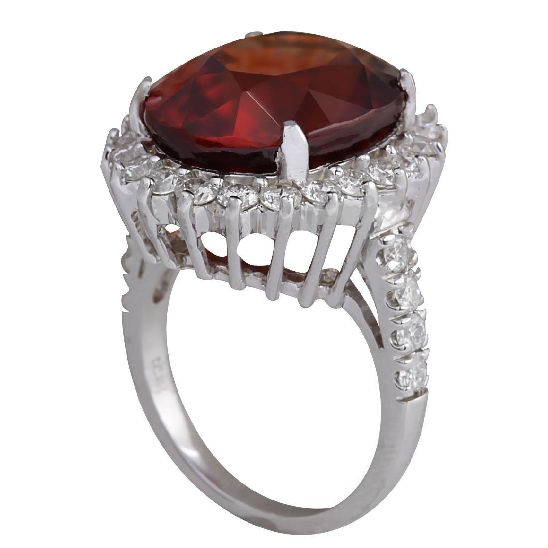 18.43Ct Natural Red Hessonite Garnet And Diamond Ring - 3