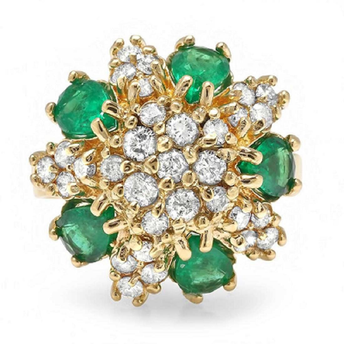 3.50 Carat Natural Emerald 18K Solid Yellow Gold