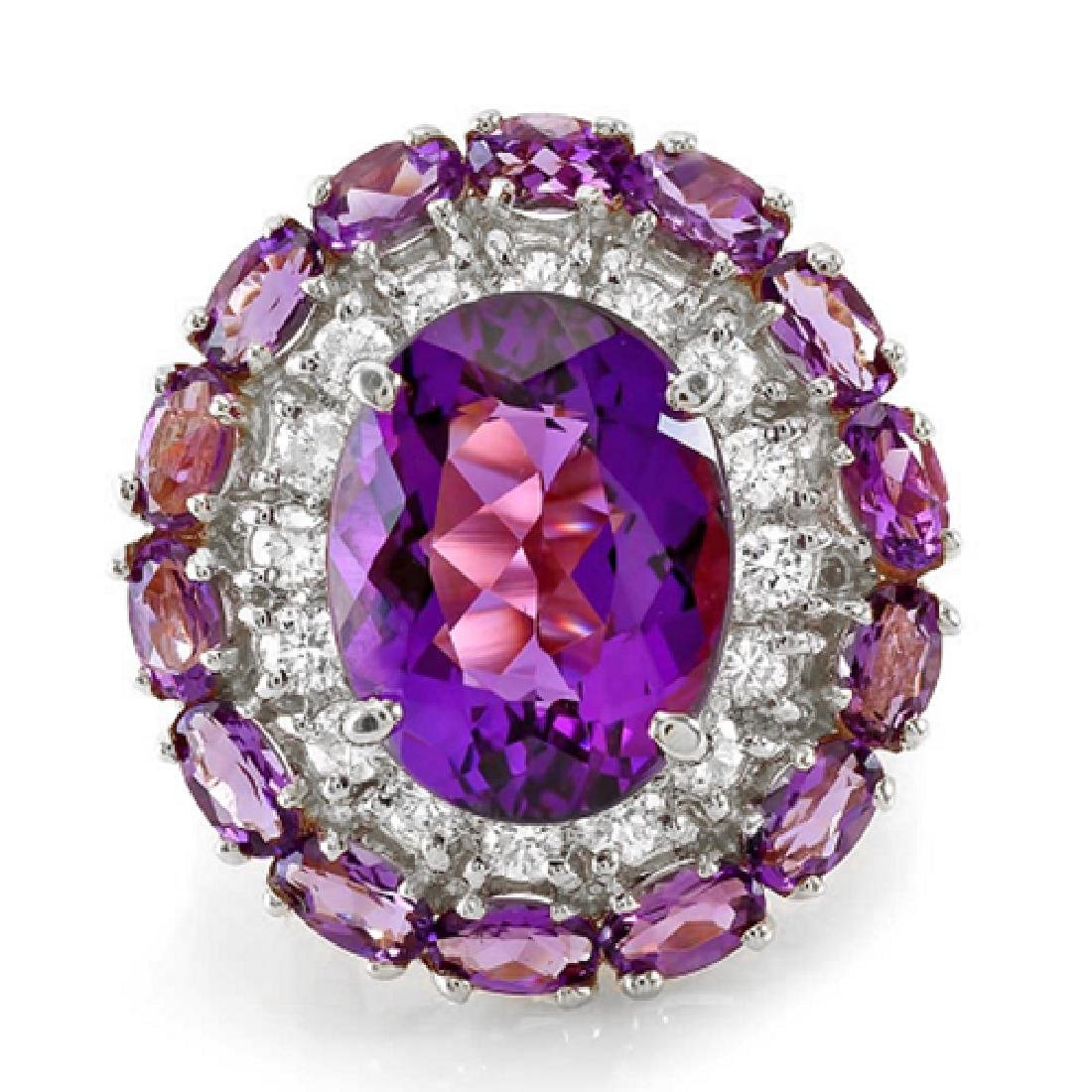 16.07 Carat Natural Amethyst 18K Solid White Gold