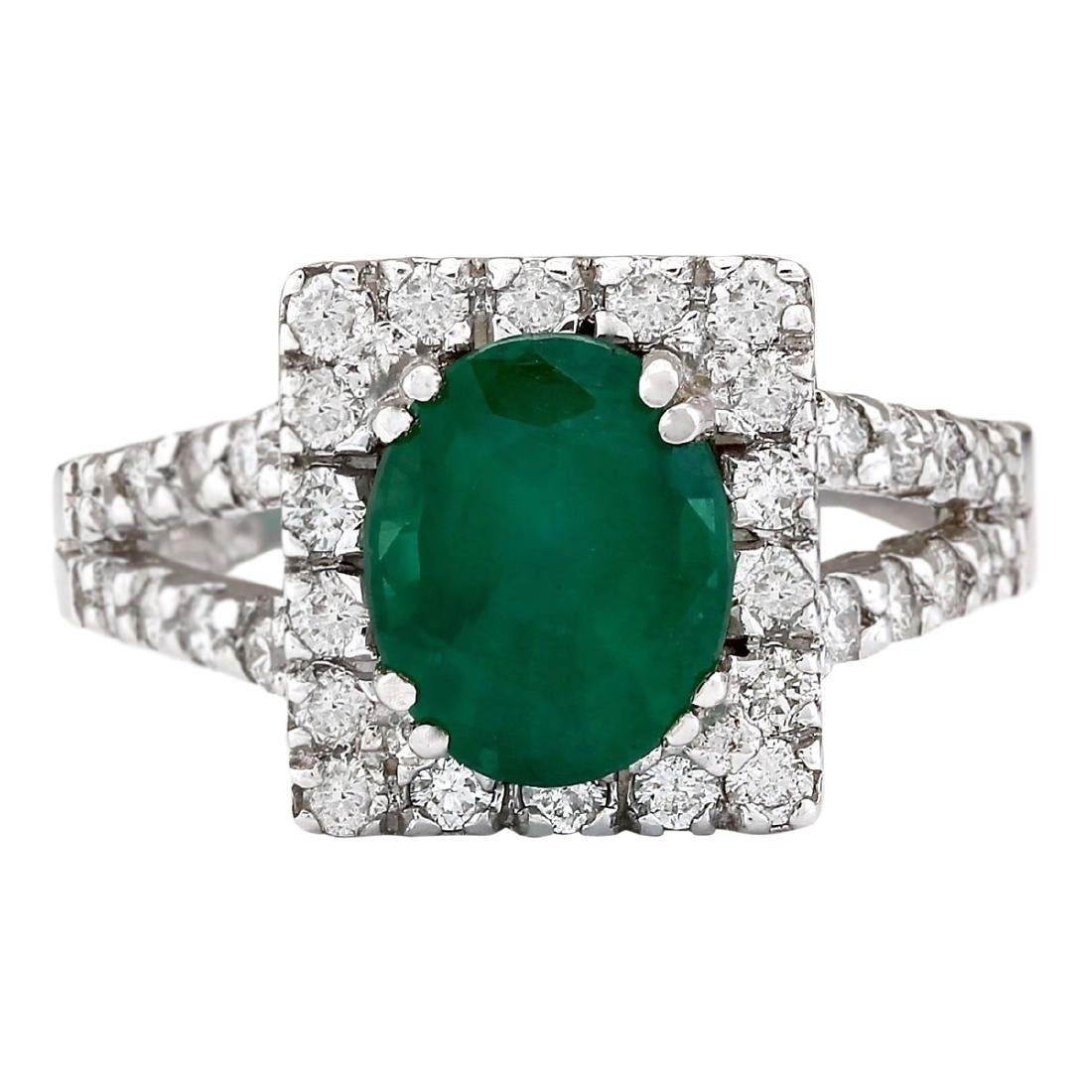 2.89 CTW Natural Emerald And Diamond Ring In 18K White