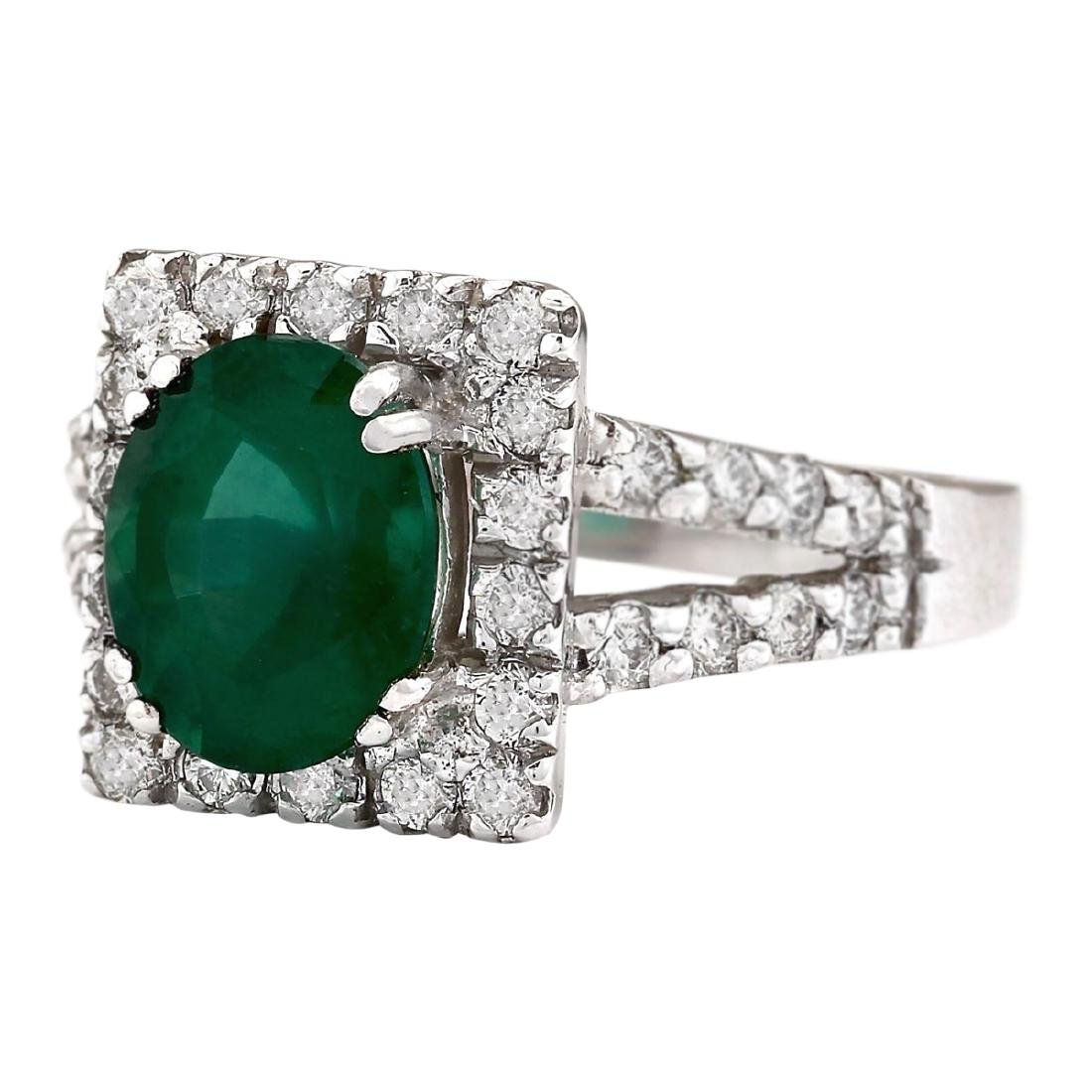 2.89 CTW Natural Emerald And Diamond Ring In 18K White - 2