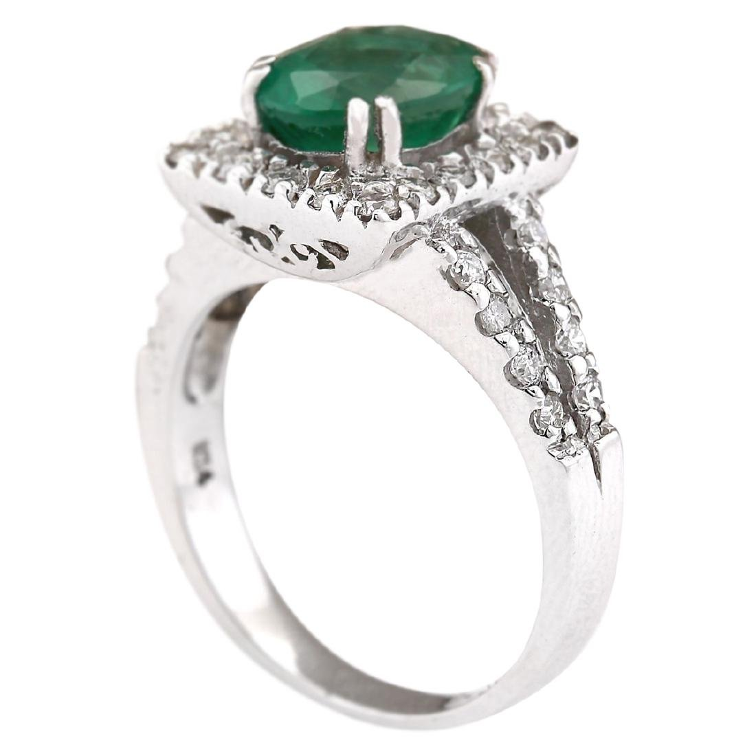 2.89 CTW Natural Emerald And Diamond Ring In 18K White - 4