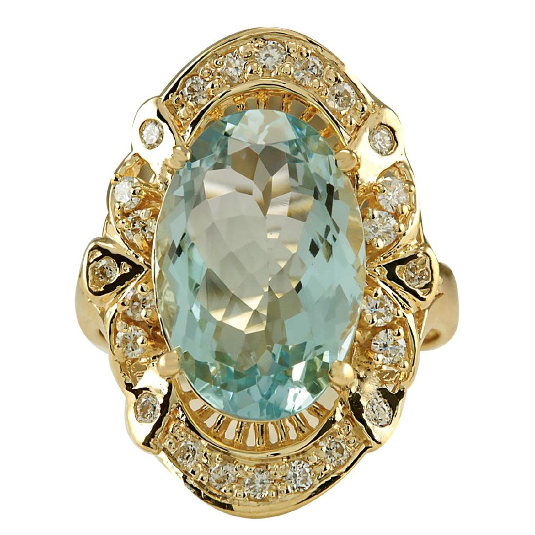 6.43CTW Natural Blue Aquamarine And Diamond Ring 18K