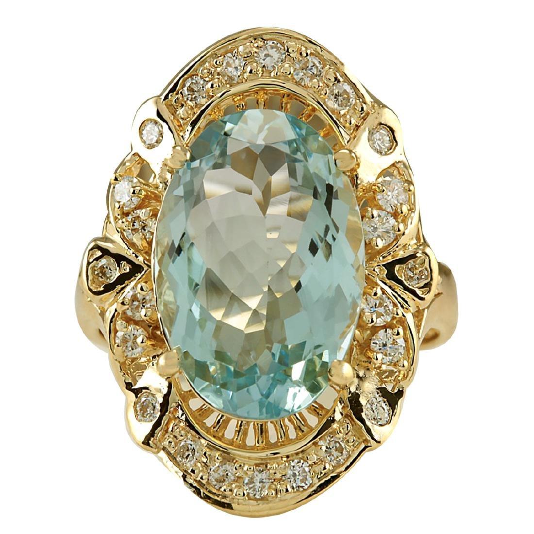 6.43CTW Natural Blue Aquamarine And Diamond Ring 18K