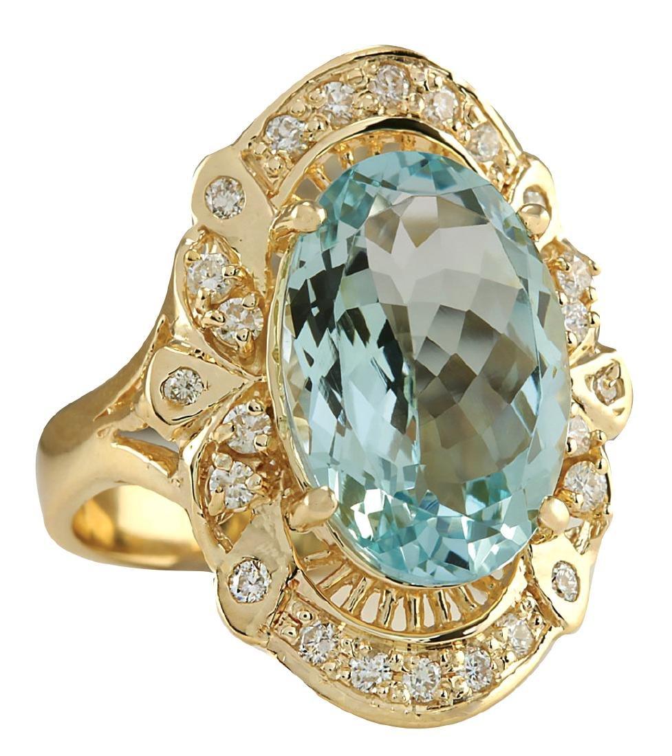 6.43CTW Natural Blue Aquamarine And Diamond Ring 18K - 2