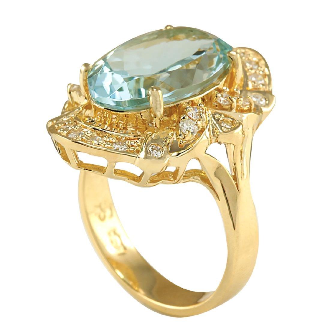6.43CTW Natural Blue Aquamarine And Diamond Ring 18K - 3