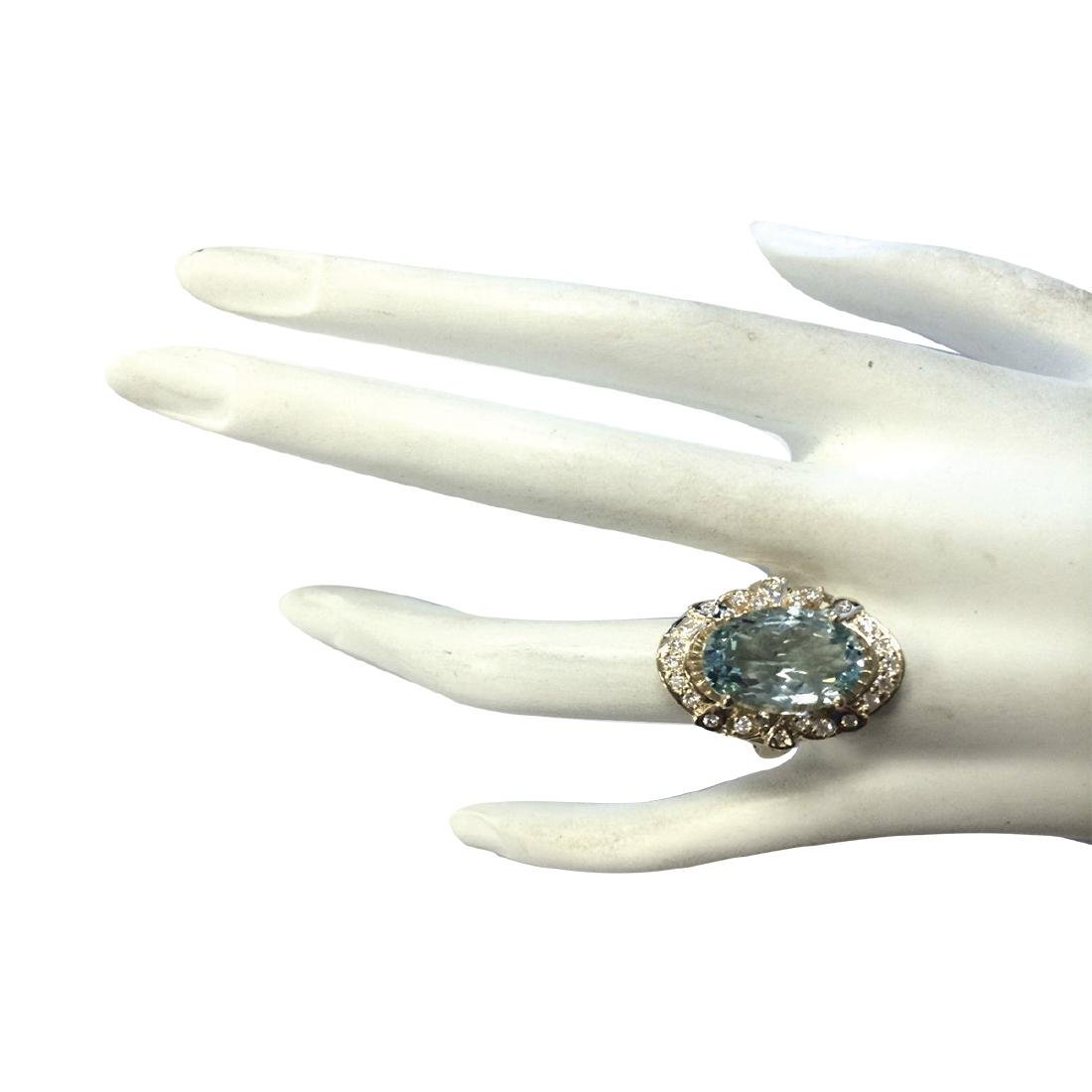 6.43CTW Natural Blue Aquamarine And Diamond Ring 18K - 4