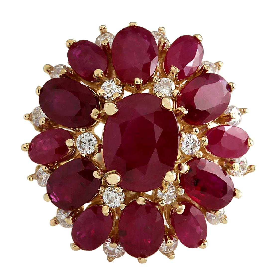 7.47CTW Natural Red Ruby And Diamond Ring 18K Solid