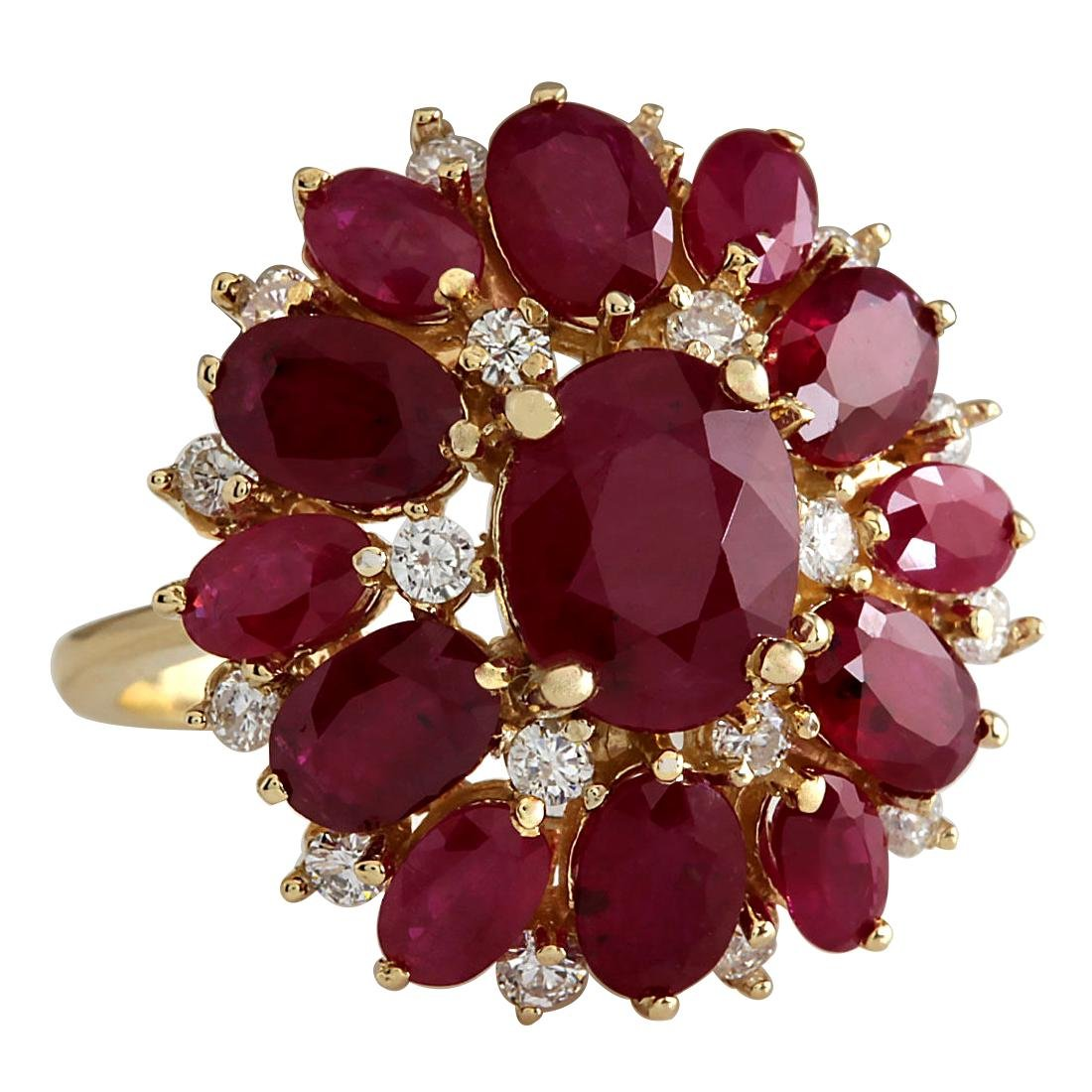 7.47CTW Natural Red Ruby And Diamond Ring 18K Solid - 2