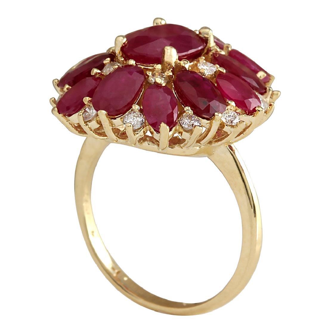 7.47CTW Natural Red Ruby And Diamond Ring 18K Solid - 3