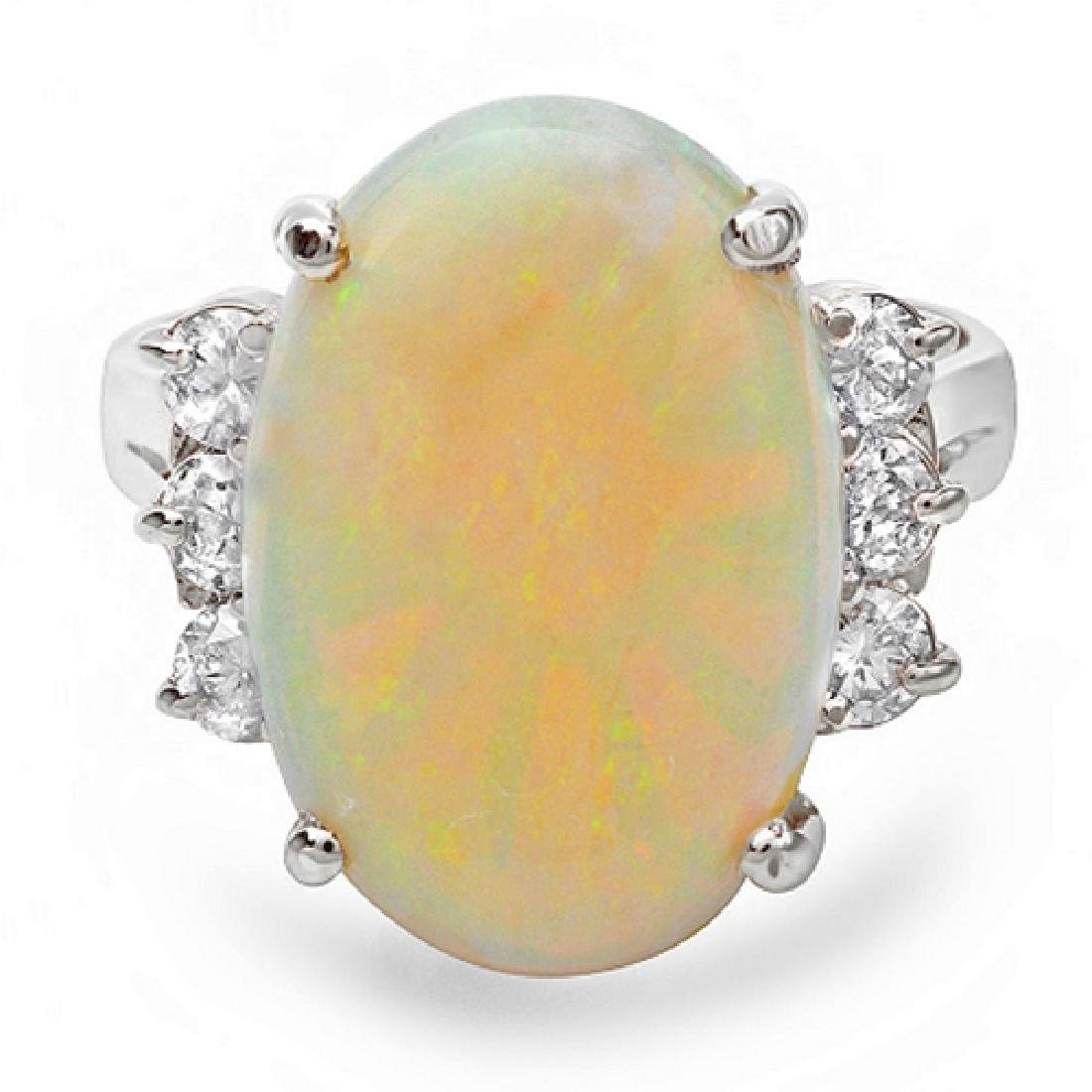 6.00 Carat Natural Opal 18K Solid White Gold Diamond