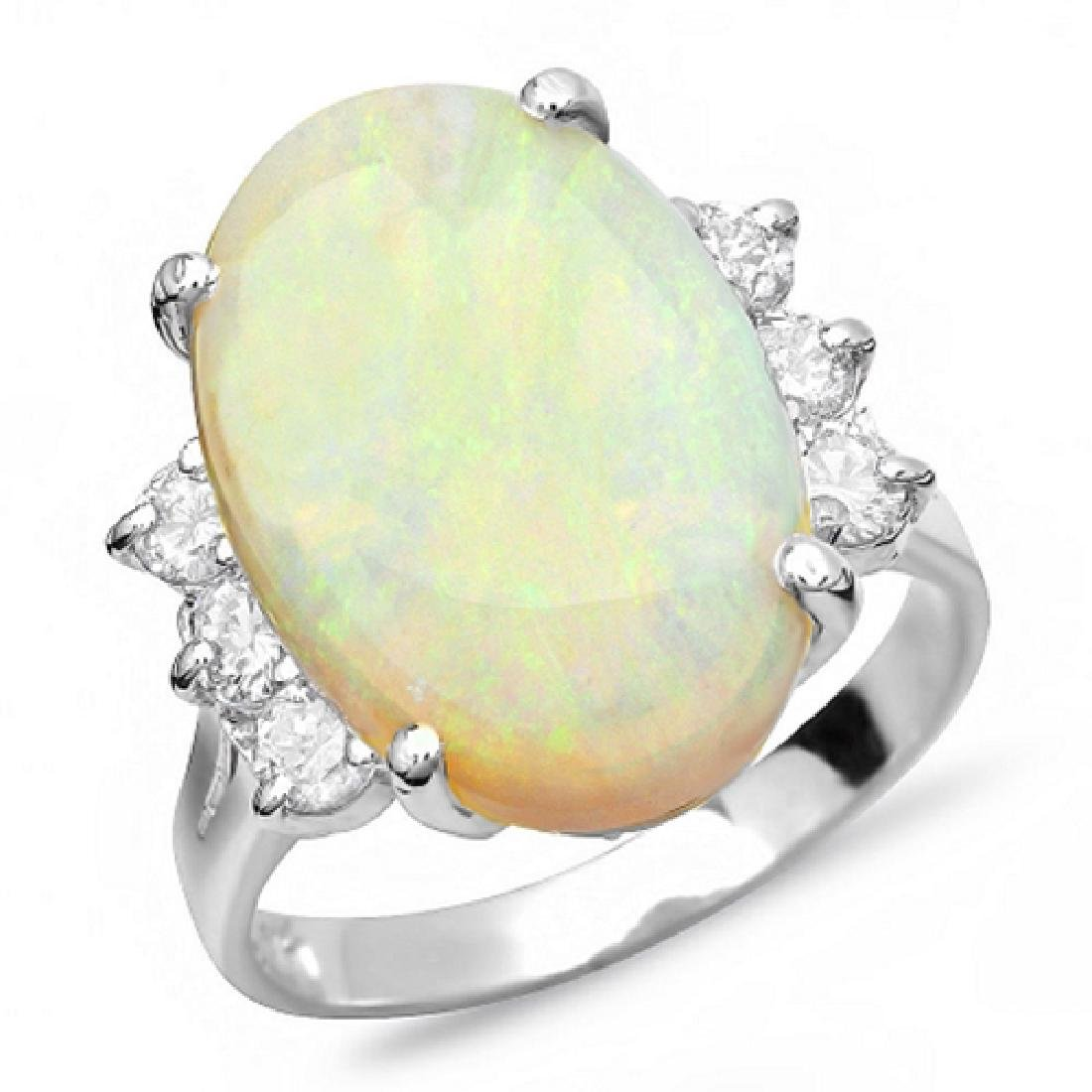 6.00 Carat Natural Opal 18K Solid White Gold Diamond - 2