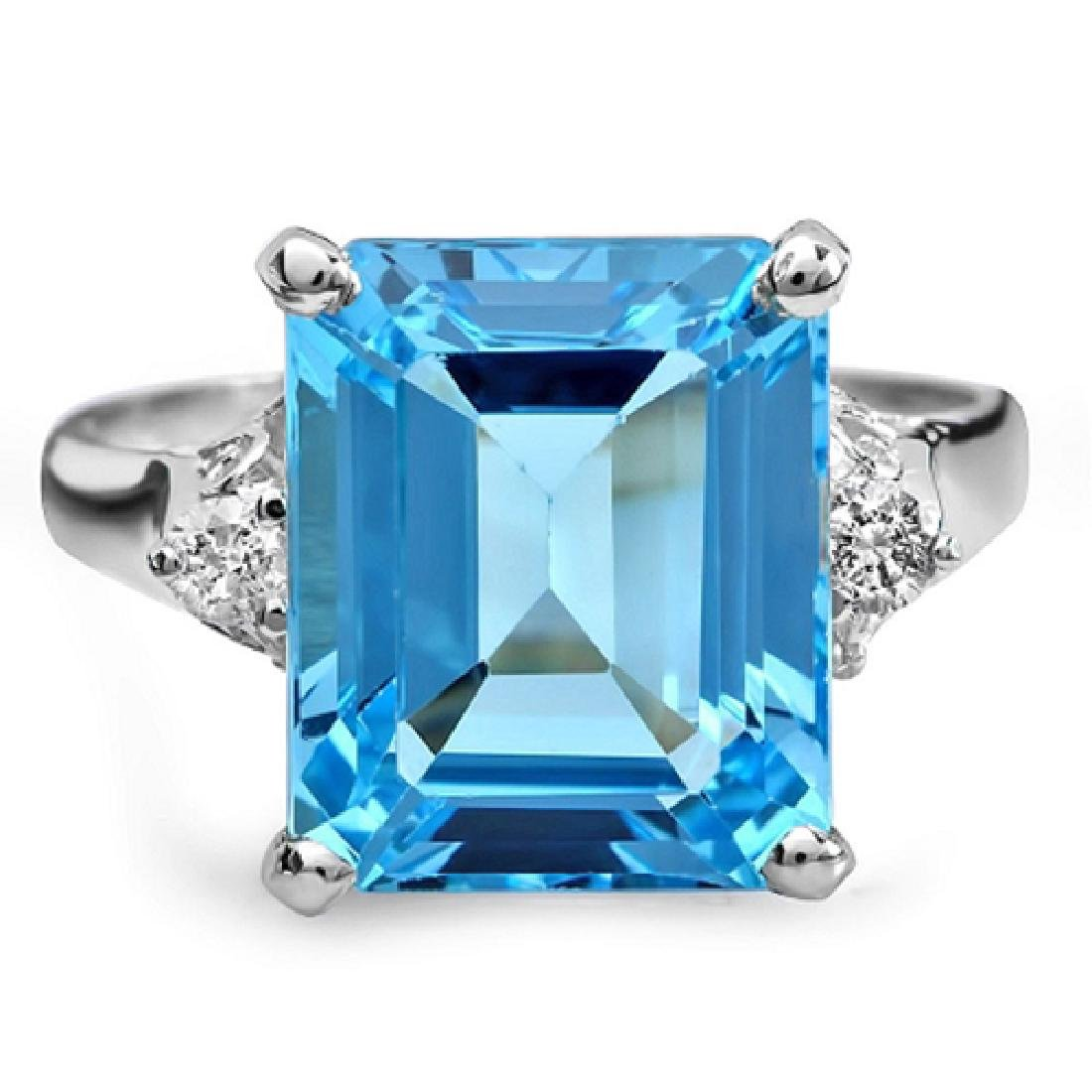 8.00 Carat Natural Topaz 18K Solid White Gold Diamond