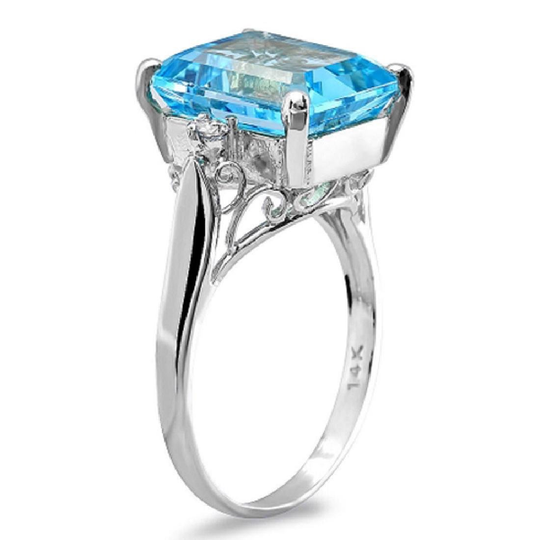 8.00 Carat Natural Topaz 18K Solid White Gold Diamond - 2