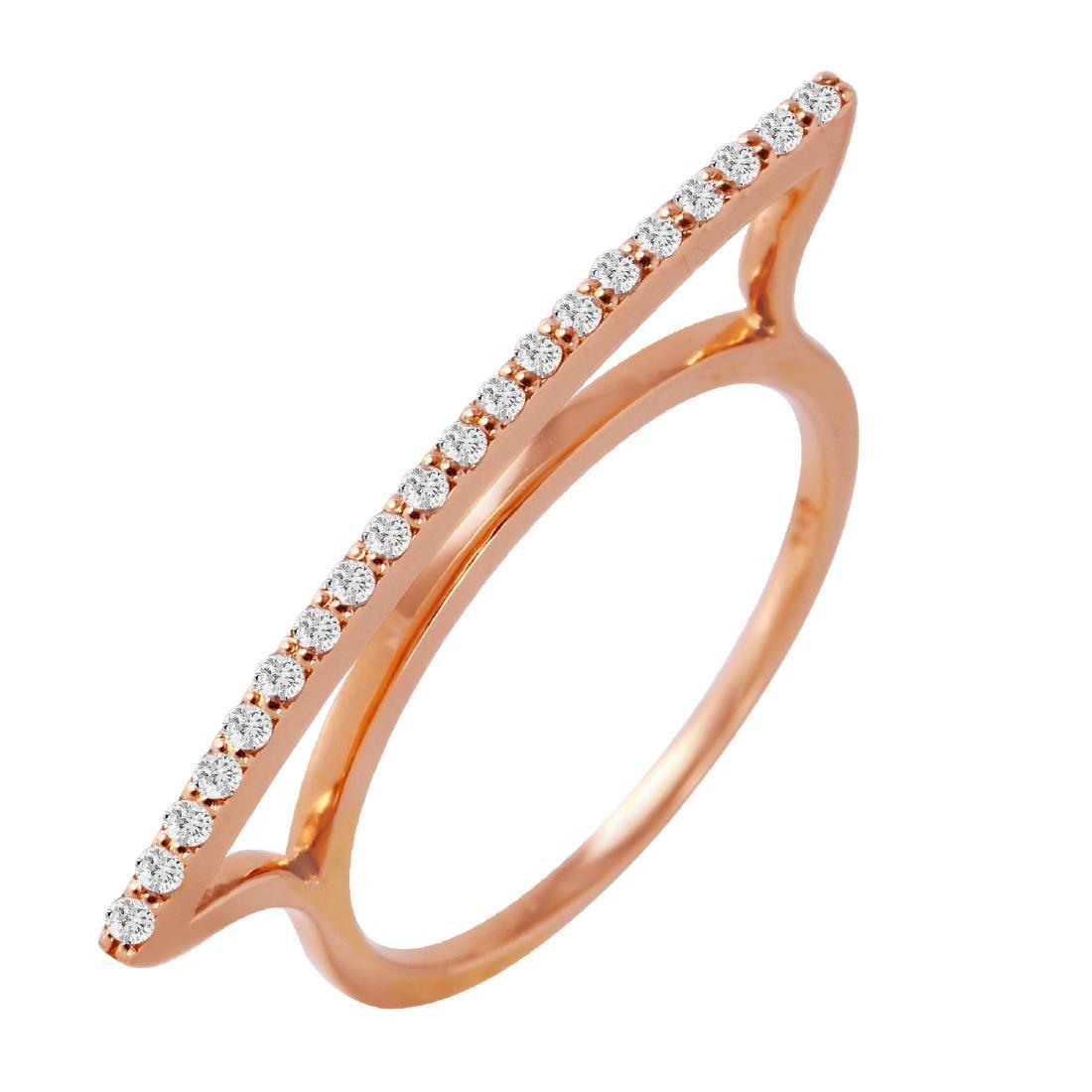 0.17 Carat Natural Diamond 18K Solid Rose Gold Ring