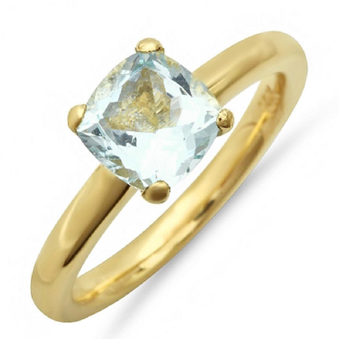 1.20 Carat Natural Aquamarine 18K Solid Yellow Gold