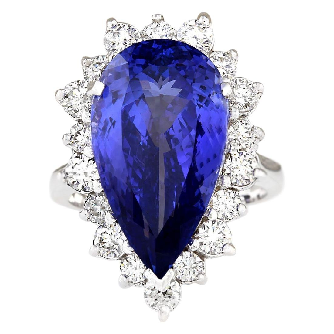 14.83 CTW Natural Blue Tanzanite And Diamond Ring 18K