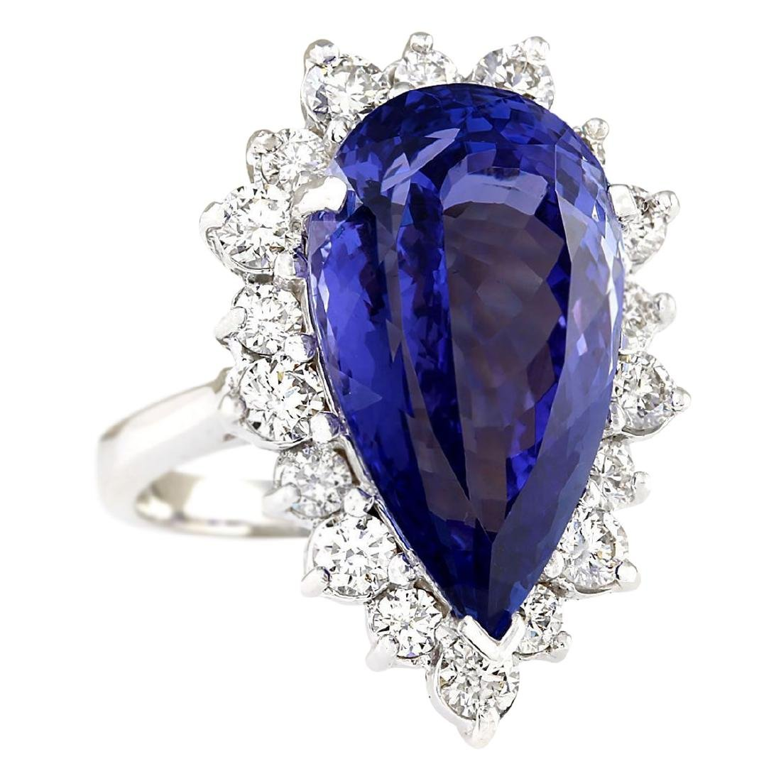 14.83 CTW Natural Blue Tanzanite And Diamond Ring 18K - 2