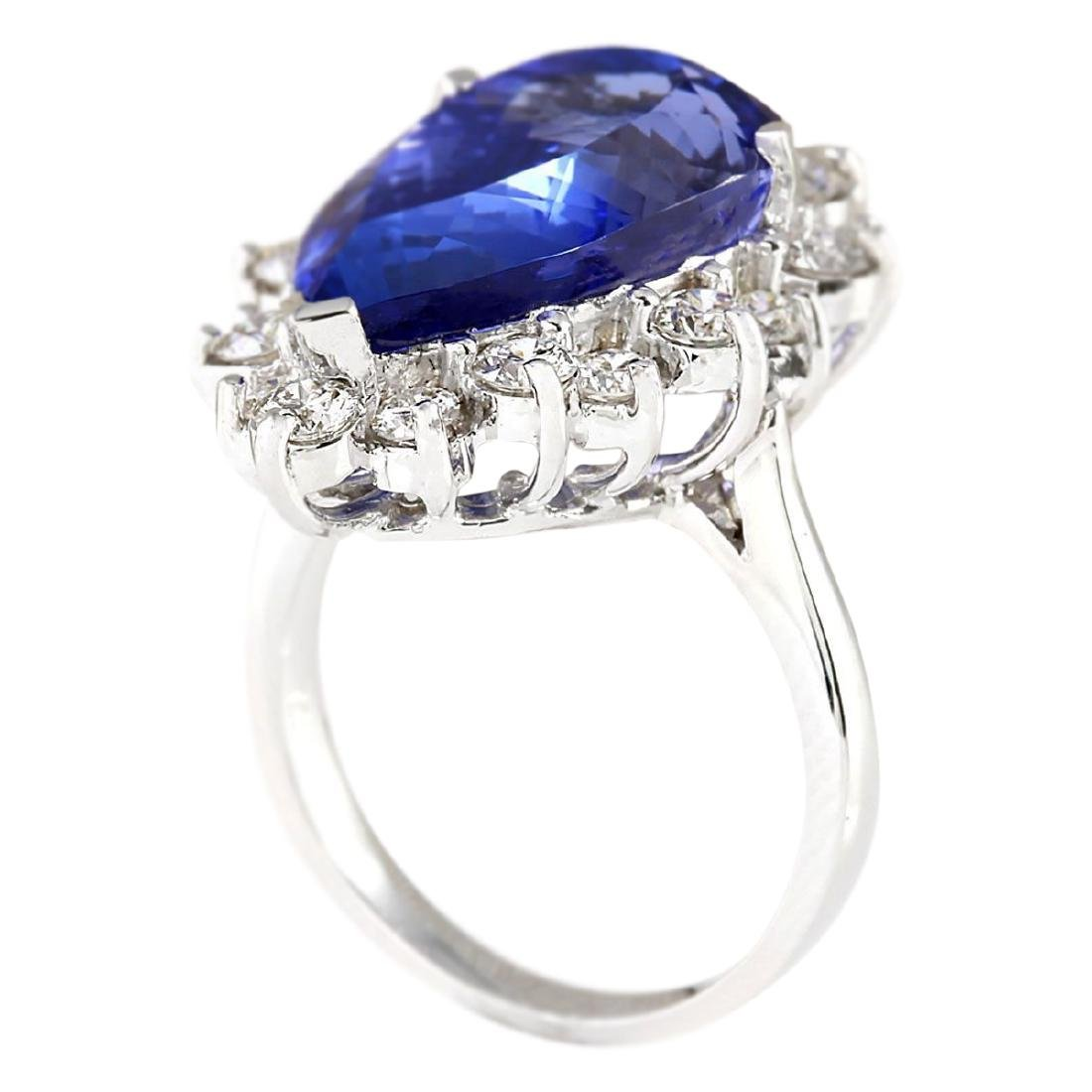 14.83 CTW Natural Blue Tanzanite And Diamond Ring 18K - 3