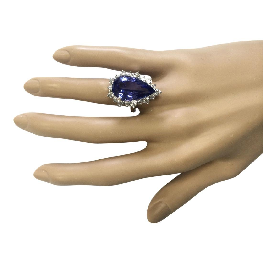 14.83 CTW Natural Blue Tanzanite And Diamond Ring 18K - 4