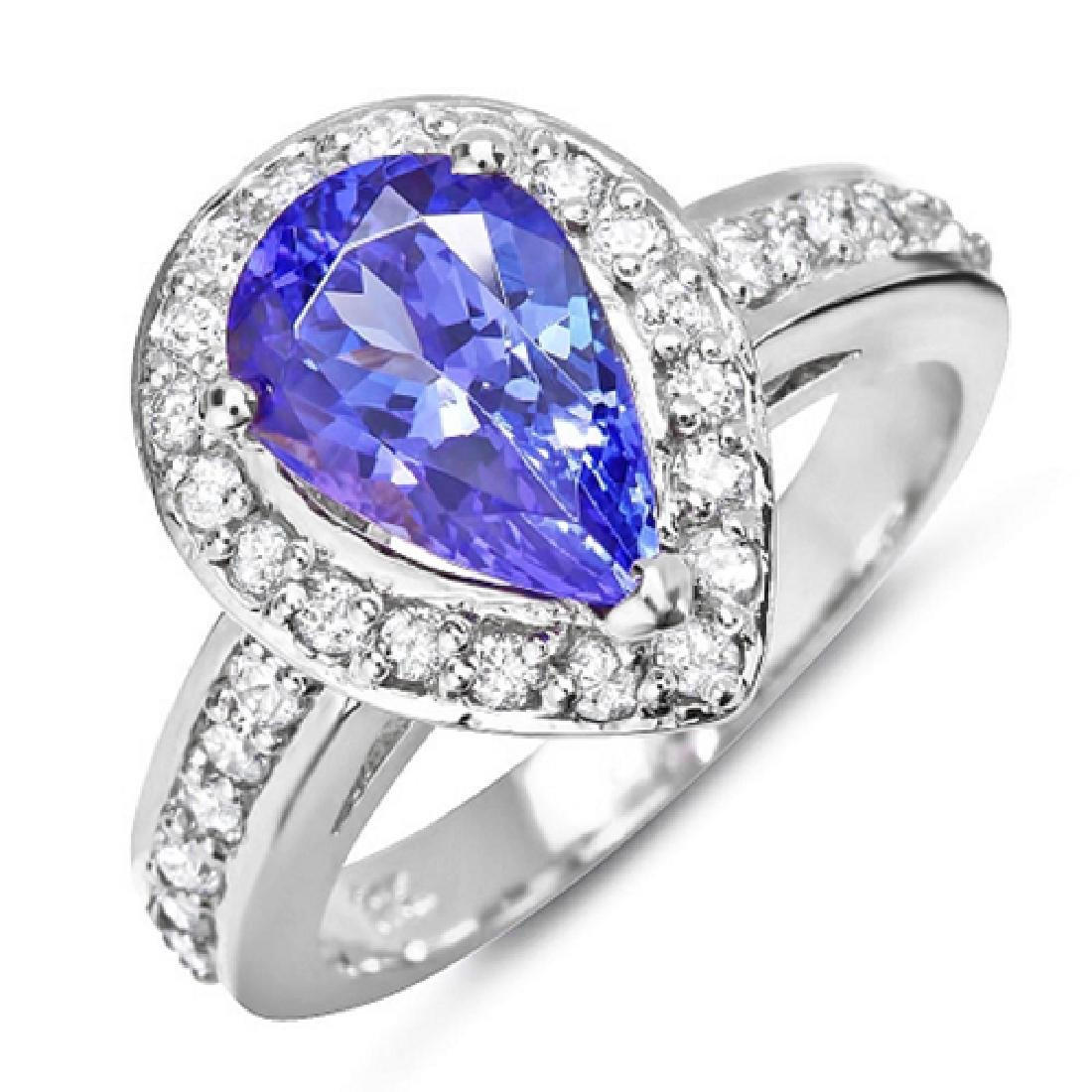 3.00 Carat Natural Tanzanite 18K Solid White Gold